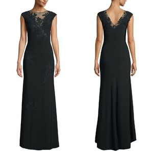 XSCAPE Black Mesh Inset Embroidered Evening Dress